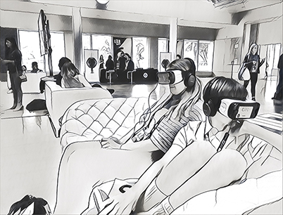 Convivial Graphic of Virtual Reality Experiences Lounge